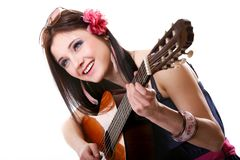 Summer girl with guitar on white background Royalty Free Stock Images