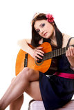 Summer girl with guitar on white background Stock Photos