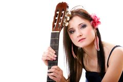 Summer girl with guitar on white background Stock Photography