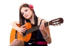 Summer girl with guitar on white background Royalty Free Stock Photo