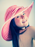 Summer girl with a hat Royalty Free Stock Photo