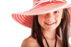Summer girl with a hat Royalty Free Stock Images
