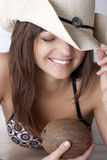 Summer girl in  hat with coco Royalty Free Stock Image
