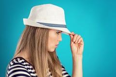 Summer girl in hat Stock Photos