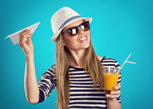 Summer girl in hat Royalty Free Stock Photography