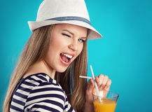 Summer girl in hat Stock Photo