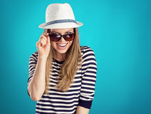 Summer girl in hat Royalty Free Stock Image