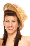 Summer girl in hat retro styling Royalty Free Stock Photo
