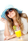 Summer girl having a cocktail Royalty Free Stock Images