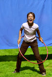 Summer girl and hula hoop Royalty Free Stock Photos