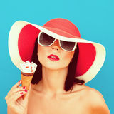 Summer Girl with ice cream. Portrait of summer Girl with ice cream Stock Photo