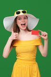 Summer girl ing blank credit card Royalty Free Stock Images