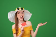 Summer girl ing blank credit card Stock Photos