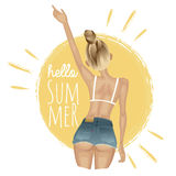 Summer girl in jeans shorts and bikini on the background of sun Stock Image