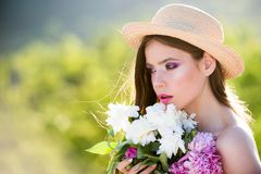 Summer girl with long hair. face and skincare. Travel in summer. Spring woman. Springtime and vacation. Natural beauty stock photos