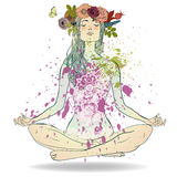 Summer Girl in Lotus pose. Beautiful Girl with floral wreath sitting in Lotus pose royalty free illustration