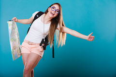Summer girl with map thumbing and hitch hiking Stock Images