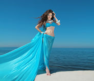 Summer Girl Model. Beautiful brunette woman with blowing tissue. Dress over blue sky, outdoors. Enjoyment. Relaxation Stock Photos