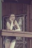Summer girl in monochrome color Stock Photo