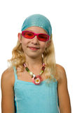 Summer girl with pink sunglasses Royalty Free Stock Photos