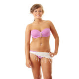 Summer girl in pink swimwear Stock Photos