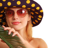 Summer girl with plant and panama hat Royalty Free Stock Photo