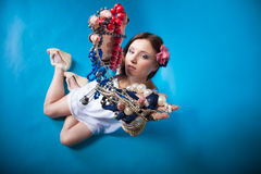 Summer girl plenty of jewellery beads in hands Stock Photography