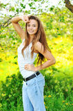 Summer girl portrait. Beautiful brunette woman smiling Royalty Free Stock Photos