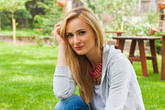 Summer girl portrait. Caucasian blonde woman smiling happy on su Royalty Free Stock Photo