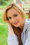 Summer girl portrait. Caucasian blonde woman smiling happy on su Royalty Free Stock Images