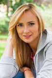 Summer girl portrait. Caucasian blonde woman smiling happy on su Royalty Free Stock Photos