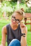 Summer girl portrait. Caucasian blonde woman smiling happy on su Stock Photo