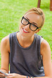 Summer girl portrait. Caucasian blonde woman smiling happy on su Stock Photography