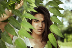 Summer girl portrait. Woman outside in park,on sunny summer or spring day Royalty Free Stock Photography