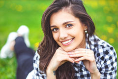 Summer girl portrait. Woman smiling happy on sunny summer Royalty Free Stock Photo