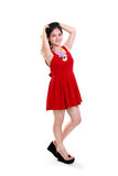 Summer girl in red dress Stock Photo