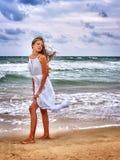 Summer girl sea look on water Stock Photos