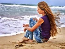 Summer girl sea look on water Stock Photo