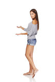 Summer girl  showing blank copy space Royalty Free Stock Image