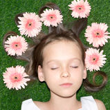 Summer girl sleeping on the grass Stock Photography