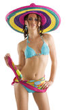 Summer girl with sombrero Stock Image