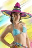 Summer girl with sombrero Stock Photo