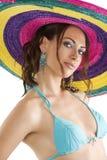 Summer girl with sombrero Stock Photos