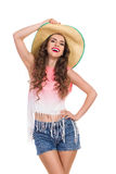 Summer Girl in Straw Hat Royalty Free Stock Photo
