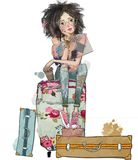 Summer girl with suitcases vector illustration