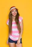 Summer Girl In Sun Visor Stock Photos