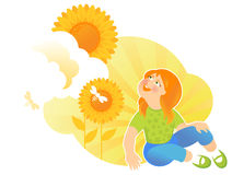 Summer Girl With Sunflowers Royalty Free Stock Photo