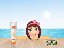 Summer girl tanning. Illustration of summer girl tanning Royalty Free Stock Image