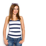 Summer girl watching. Royalty Free Stock Image