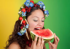Summer girl with watermelon Stock Photos